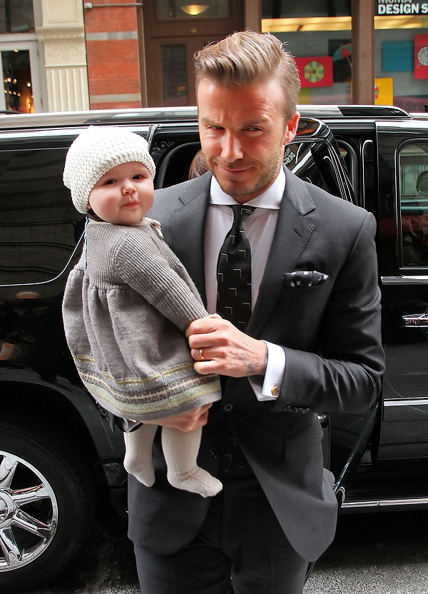 David Beckham, Victoria Beckham and Harper Beckham out and about in NYC