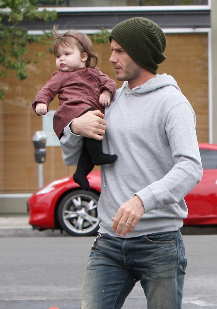 David and Victoria Beckham with their children in Santa Monica, CA