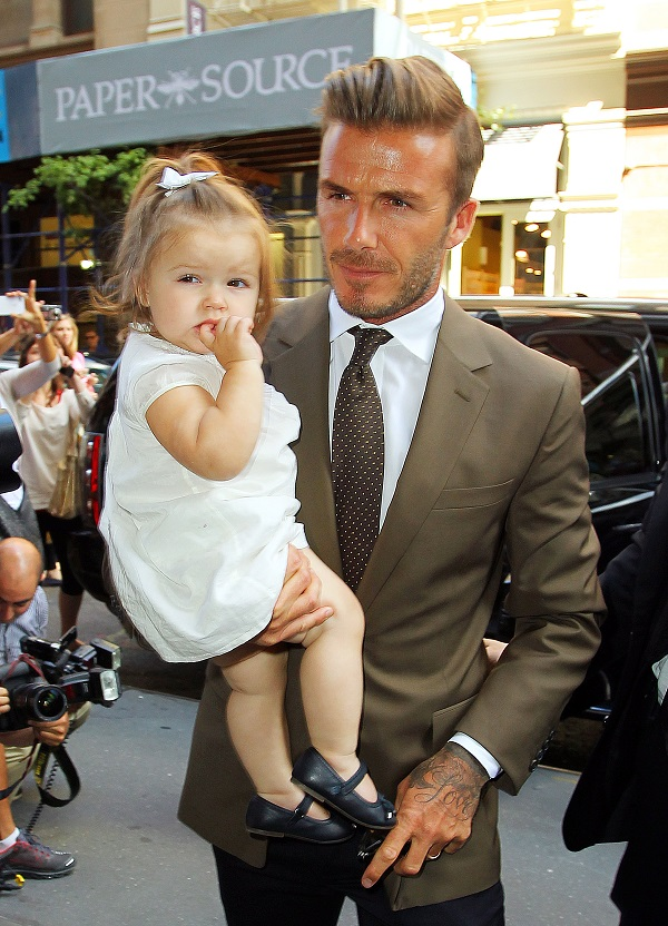 David Beckham and Harper go to Balthazar after attending Victoria Beckham's fashion show in NYC